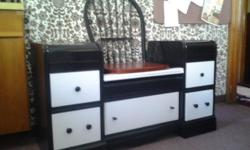 "SEATING & STORAGE ------------------------------- THIS OLD VANITY HAS BEEN CONVERTED INTO EXTRA SEATING WITH BUILT-IN STANDS AND STORAGE ALL IN ONE. IT MEASURES : 48"" LONG - 18 1/2"" WIDE - 27 1/2"" H THE UNIT HAS 5 DRAWERS FOR STORAGE:"