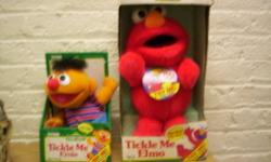 SET OF 4 SESAME STREET TICKLE ME ELMO,TICKLE ME ERNIE,TICKLE ME COOKIE MONSTER,AND A SING AND SNORE ERNIE.THESE ARE ALL IN THERE BOXES BUT ARE A FEW YEARS OLD.55.00 CASH AND CARRY