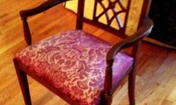 This lovely Sheraton-Style Chairs have: ? straight lines and overall delicacy ? upholstered seats ? back support designs: lattice-work, and armchairs a distinct?Sheraton touch. ? straight legs Arm chair & Side chairs $100 each PRODUCT INFORMATION Size:17""