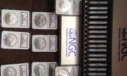 Certified, Sealed, Graded, uncirculated NGC MS69 Silver Eagle Coins 1986-2008 includes 2006W, 2007W & 2008W Issued by the USMint and graded by the Numismatic Guaranty Corporation...Valued at over $1400
