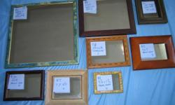 SMALL FRAMED DECORATIVE MIRRORS. All may be hung up. Some have foot to stand on desk or bureau. Priced individually as noted in the photos (prices as on each of the mirror tags: A=$25. B=$20. C=$15. D=$10). Take any five or more and receive 20% discount.