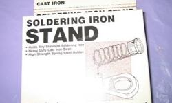 """Inland"" soldering iron stand, professional heavy duty. Holds any standard soldering iron. Heavy duty cast iron base, high strength spring steel holder. New in box. $7 Bonus: Stanley retractable blade utility knife, some Alan wrenches, screws and hardware"