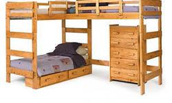 Combining casual design with function, this loft bed will be perfect for a bedroom in your home. The bed features two lofted beds and a built-in futon for a stylish, functional design. An open area underneath one of the beds offers a place to store a
