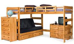 Combining casual design with function, this loft bed will be perfect for a bedroom in your home. The bed features two lofted beds and a built-in Bed for a stylish, functional design. An open area underneath one of the beds offers a place to store a