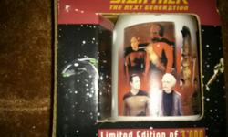 "Star Trek The Next Generation Limited Edition large Tankard Mug. Wrap around scenes from ""Encounter at Farpoint"". 1997 Paramount Pictures. Special Spencer Gifts Exclusive with Limited Edition All Metal Promo Card from the Original Series 30th Anniversary"