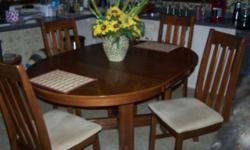Table with butterfly leaf (stored within table) and 4 padded chairs for sale- very good condition. Table opens to seat 6 individuals comfortably. Paid $600 asking $275.00. Cash carry only Watertown, NY Call (315) 489-3132
