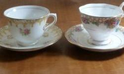 "For sale are four tea cups and matching saucers. Below are the descriptions going from left to right in the picture of the four cups and saucers: 1 On back it says ""Royal Stuart"" and ""Bone China Spencer Stuart England"" and has the crown also. From early"