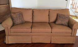 We have two matching sofas in excellent condition- no stains, tears, markings, etc. This includes four pillows. We're only looking to sell because we are redecorating the entire room. Unfortunately, we cannot deliver and are asking for serious inquiries