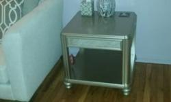 Two tables; $120 for one table. Storage drawer. Pecan finish on wood. Custom cut glass top included. Excellent condition!