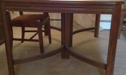 Dinning table is 58x40. This table is in pretty good condition considering its 90+ years old. I don't know much about wood so I'm not sure if its cherry or mahogany wood. I can figure out a frieght price for shipping if needed. I do not have the chairs.