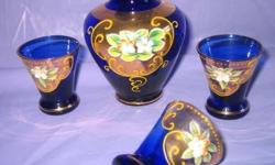 BOHEMIAN/CZECH BOHEMIAN ENAMELED HAND PAINTED GLASSWARE. Vintage. Hand blown and Baroque hand painted high relief enamel florals with gold accents and edges. Individually as indicated or the lot for $55 ..Decanter Set for cordials. Cobalt blue bottle 5