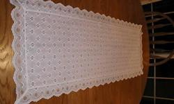 "INCLUDES: 1 Vintage Broderie Lace White Eyelet Table Runner/Dresser Scarf 15 1/2""W x 43""L FEATURES: Vintage white cotton broderie lace table runner/dresser scarf that has a pretty decorative eyelet and drawnwork pattern which is scalloped. Perfect for a"