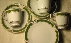 "Vintage STYLE HOUSE (Japan) ""REGENCY"" tea/coffee set for 6 persons: 6- cups, 6- saucers, 4- cake plates 6.5"" diameter. All together 16 pieces. Avocado green border with 24k gold. HIGH QUALITY. All pieces WERE NEVER USED. These pieces are very rare and"