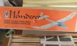 "THIS HAS NEVER BEEN BUILT.THIS IS COMPLETE RADIO CONTROL SAILPLANE.THIS HAS A WINGSPAN OF 72"".THIS IS THE WANDERER BY MARK'S MODELS.THE BOX IS IN GOOD CONDITION."