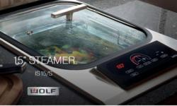#71216-1 Brand New 15 Inch Electric Steamer Module with Hidden 2,600-Watt Heating Element, 2-Gallon Capacity Tub, Electronic Drain, Digital Timer and Illuminated Touch Controls Only $1,100 Brand: Wolf Model #: IS15/S Part Of Wolf's Specialty Module