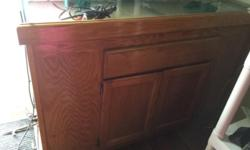 Wood stand with a honey finish 55 gallon tank including some accessories asking $150 or best offer This ad was posted with the eBay Classifieds mobile app.